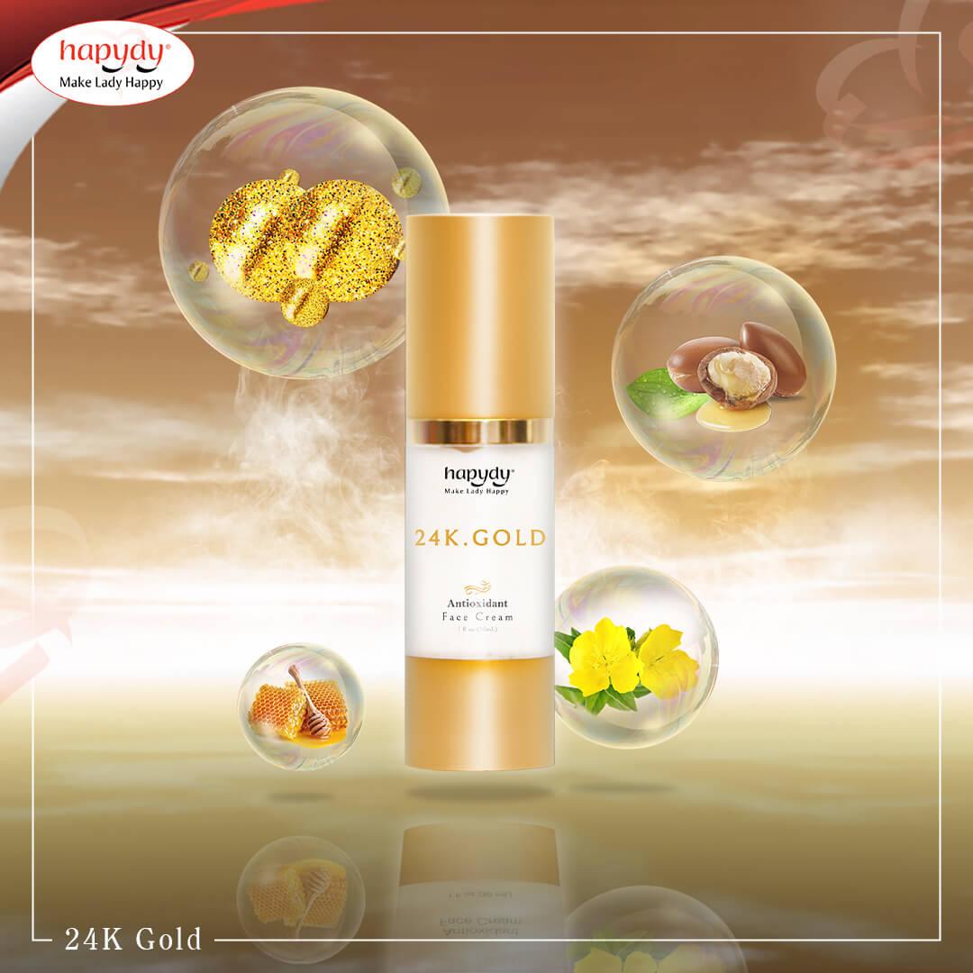 Kem dưỡng sáng da mờ thâm trẻ hoá da vàng nano 24k Hapydy